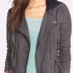 Free People Hooded Stripe Knit Jacket